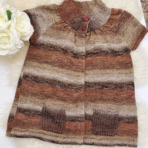 4/$25 Dress Barn Brown Striped Cardigan Sz. PM